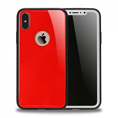 Husa APPLE iPhone X - Glass (Rosu)